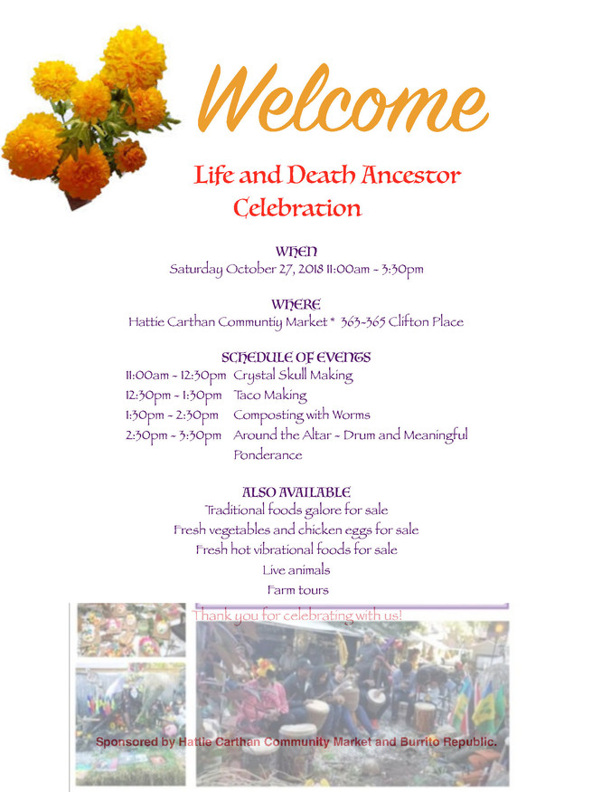 Join Us for our Annual Life and Death Celebration Oct 27th at the Saturday Market