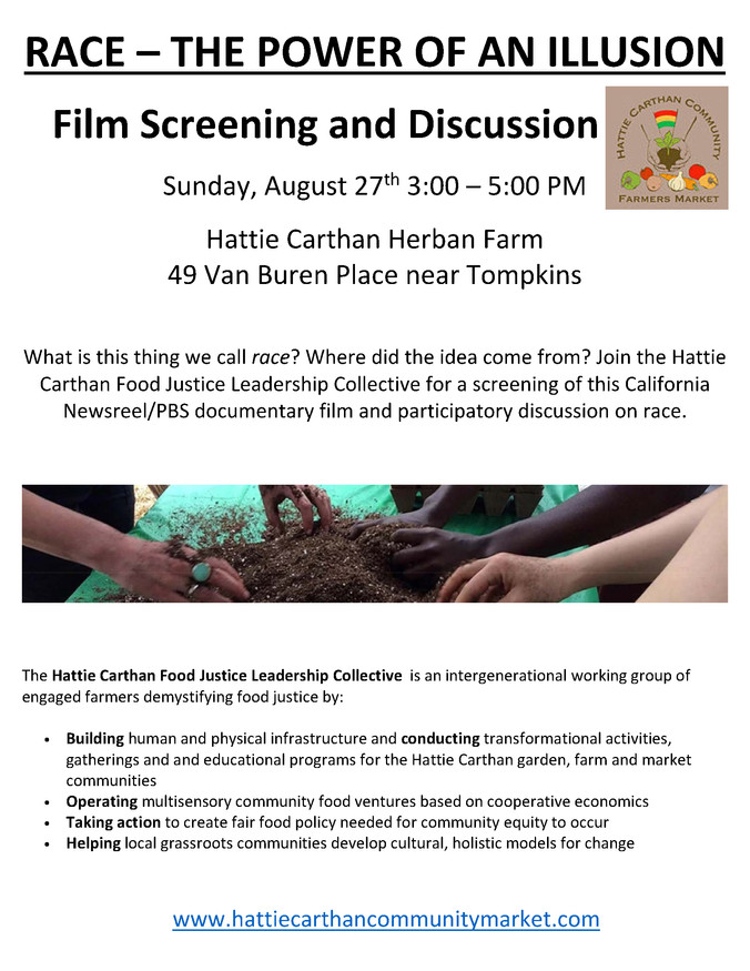 UPDATED DATE AND TIME: Join us for a screening of Race - The Power of an Illusion at the Hattie Cart