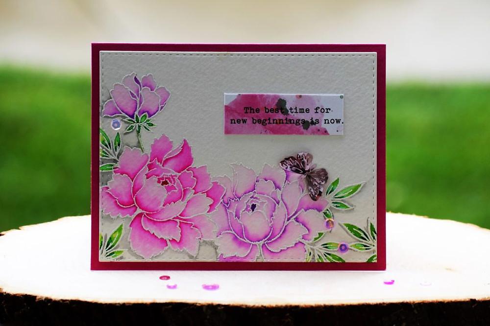 altenew pink-purple peony bouquet 1