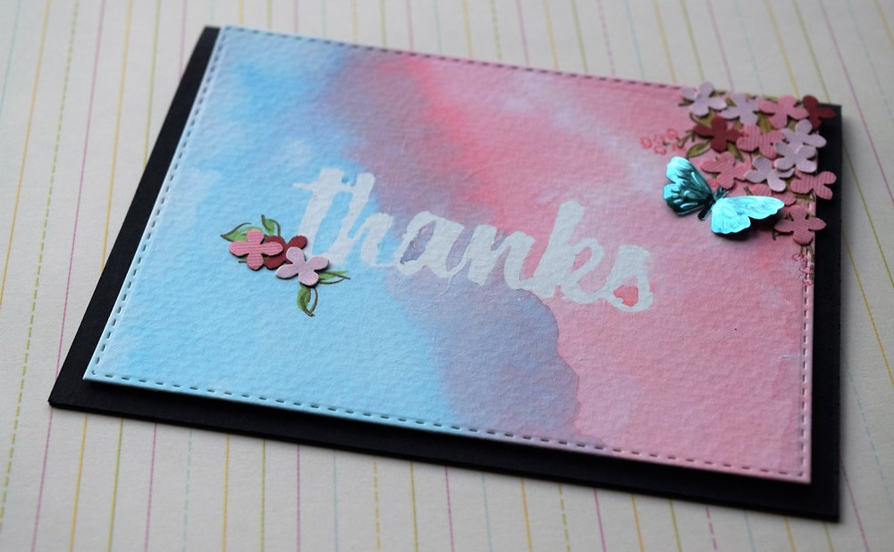 Thanks card using double masking technique