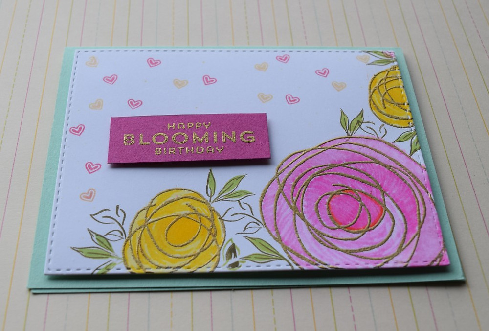 Birthday cards using StampinUp! Snuggles and Smooches roses