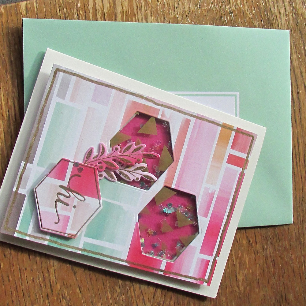 """Another shaker card using SSS September 2015 card kit and Stamptember 2015 """"My friend"""" stamp set"""