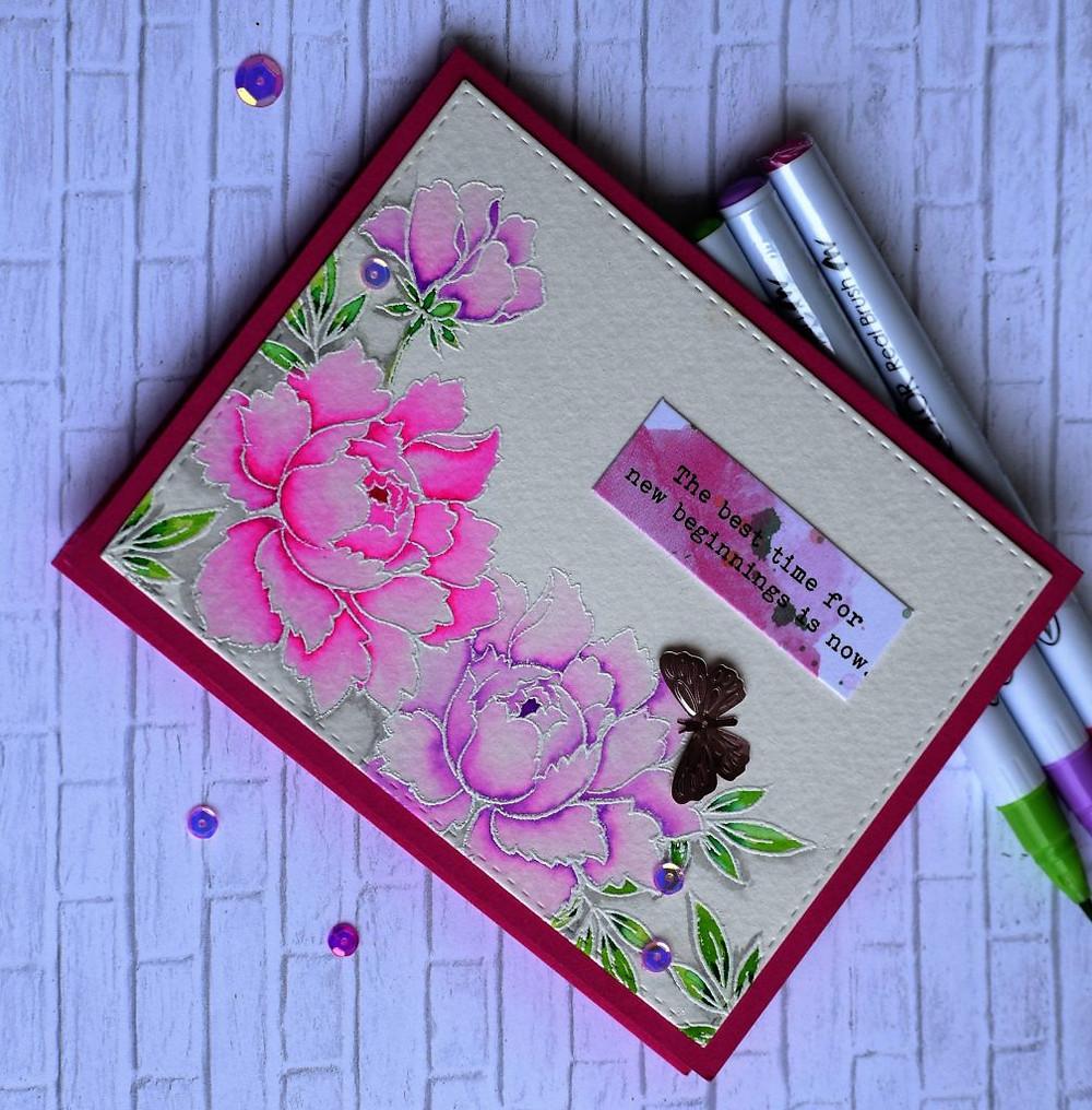 altenew pink-purple peony bouquet