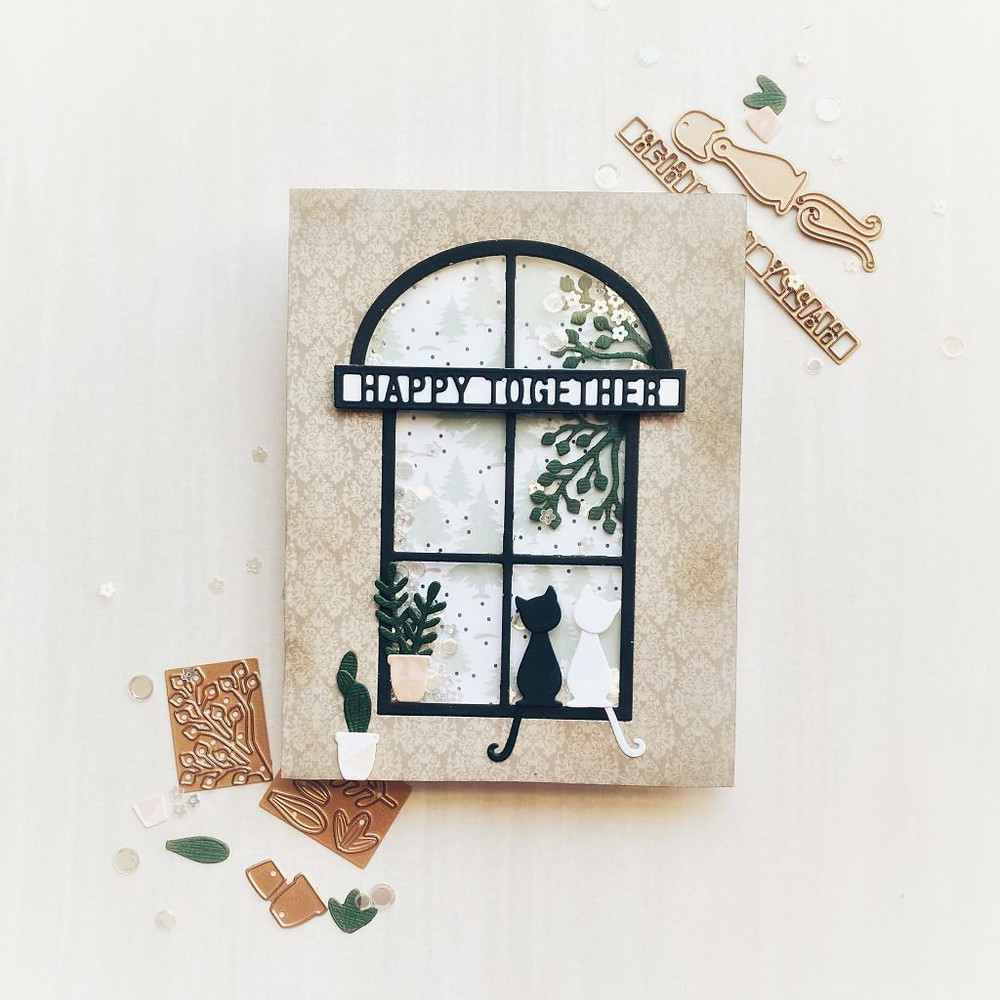 Happy Together - shaker card using Spellbinders Small Die of the Month for Dec 2020 - 1