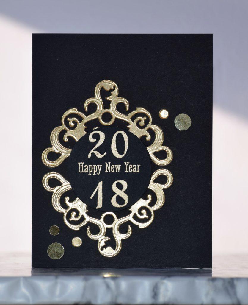 Black and gold New Year card 1 using Spellbinders dies