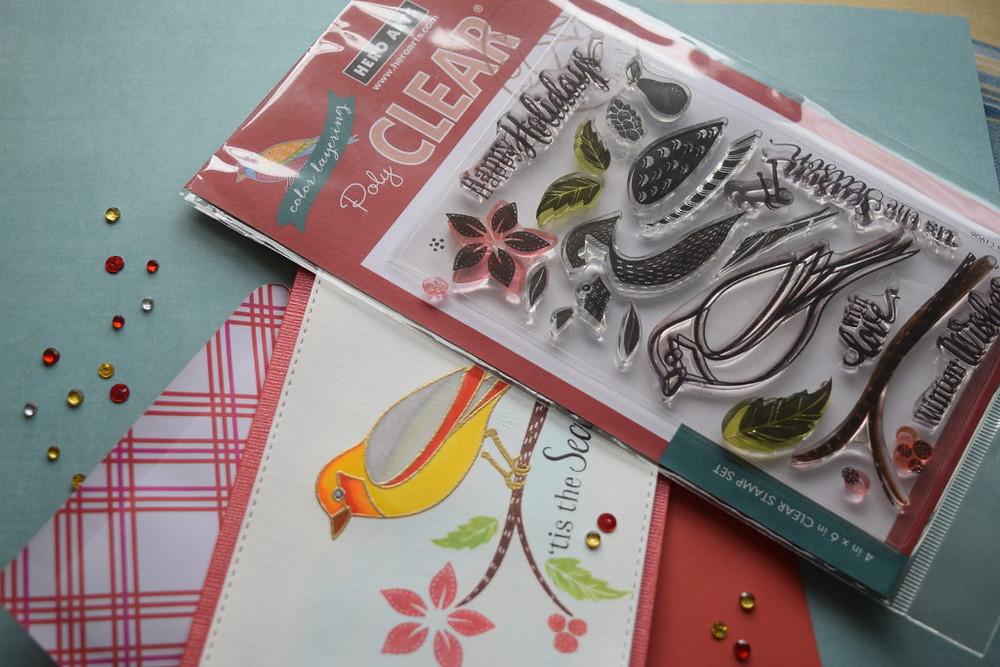 bird card using hero arts layering dimensional bird stamp