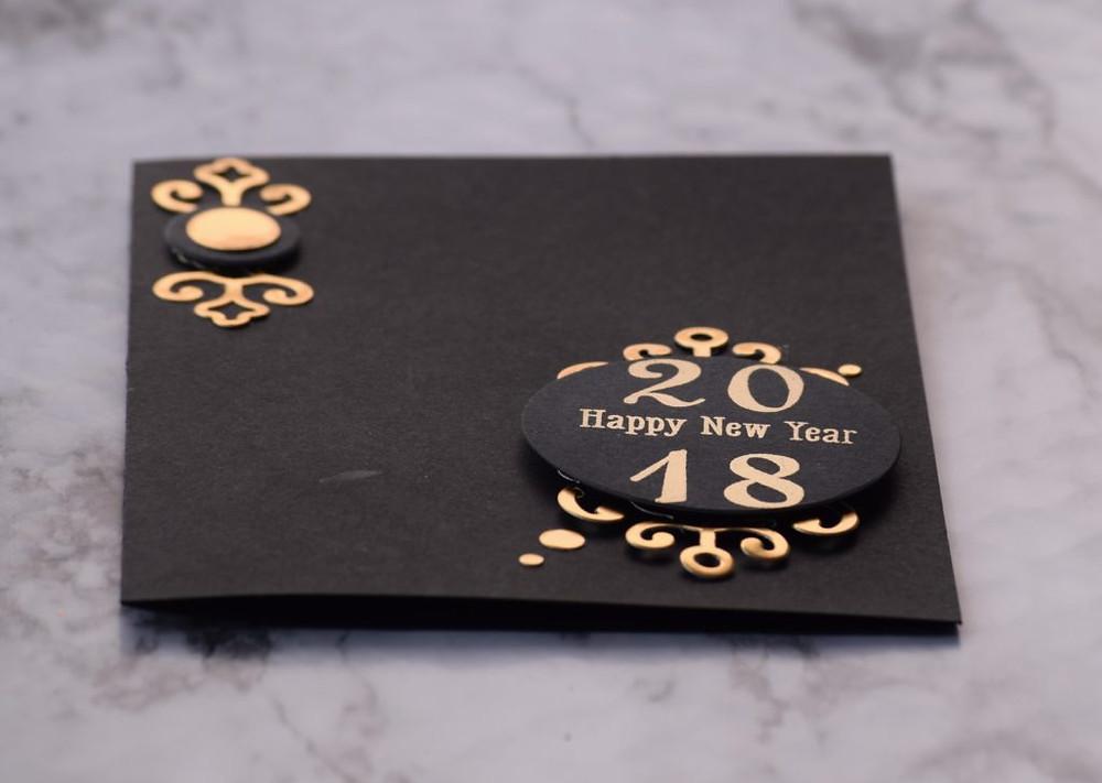 Black and gold New Year card 6 using Spellbinders dies