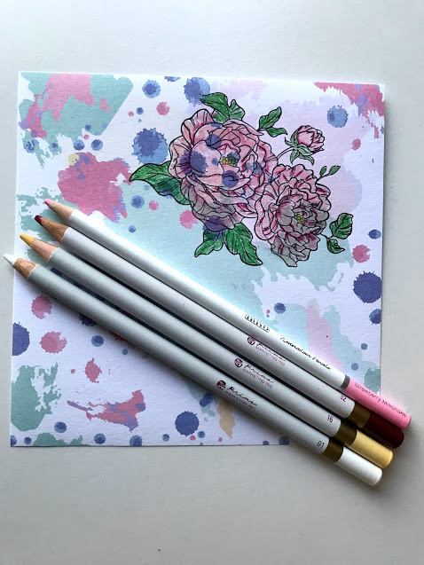pencil coloring on patterned paper