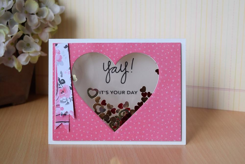Window shaker card using Simon Says Stamp February 2016 card kit
