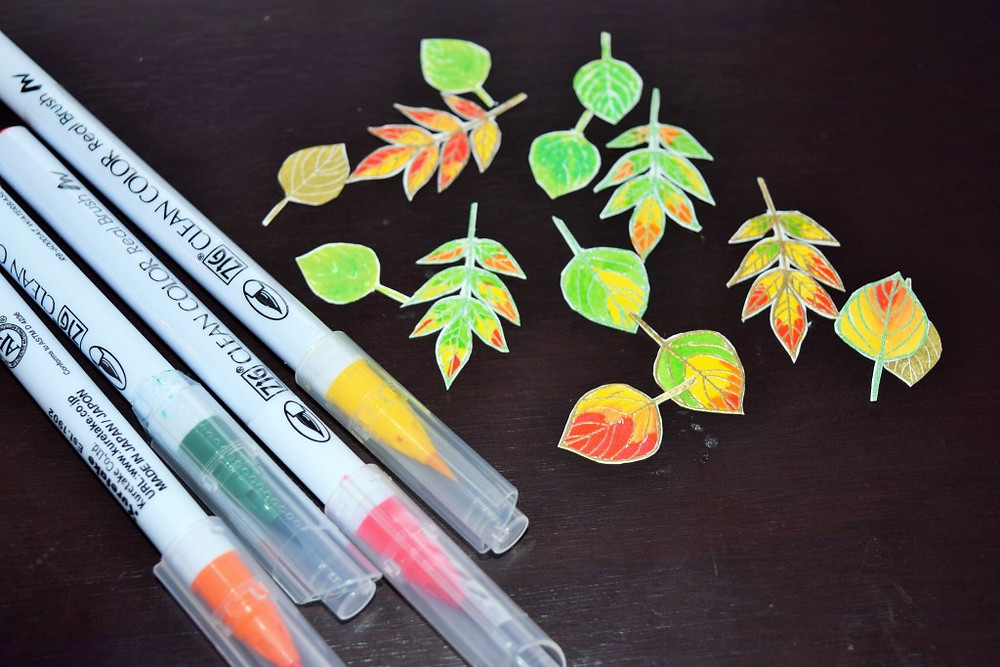 watercolored leaves