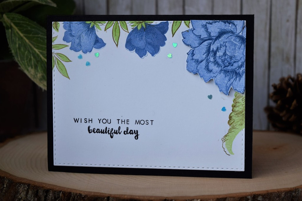 Layered embossing using Altenew Peony Stamps