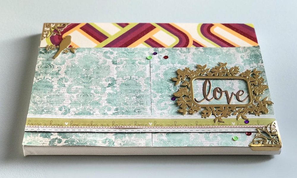 Canvas art using paper crafting supplies 2b