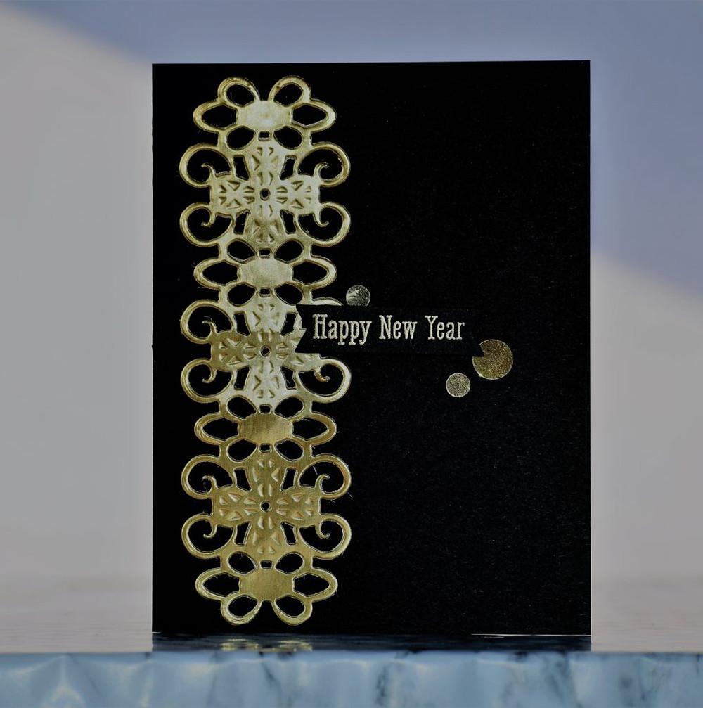 Black and gold New Year card 2 using Spellbinders dies