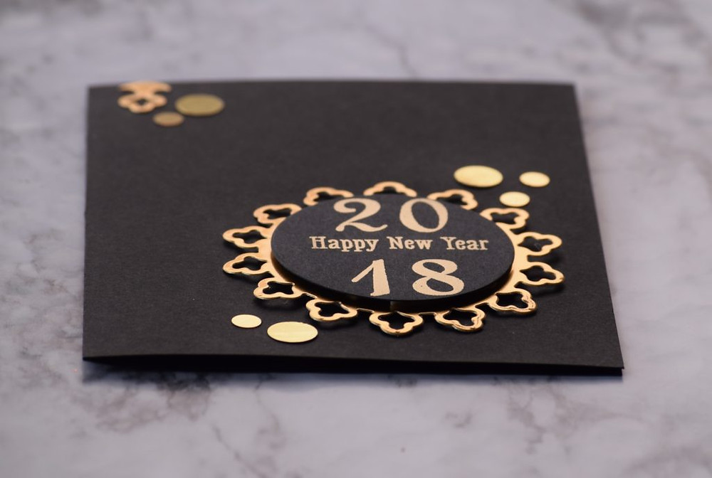 Black and gold New Year card 5 using Spellbinders dies