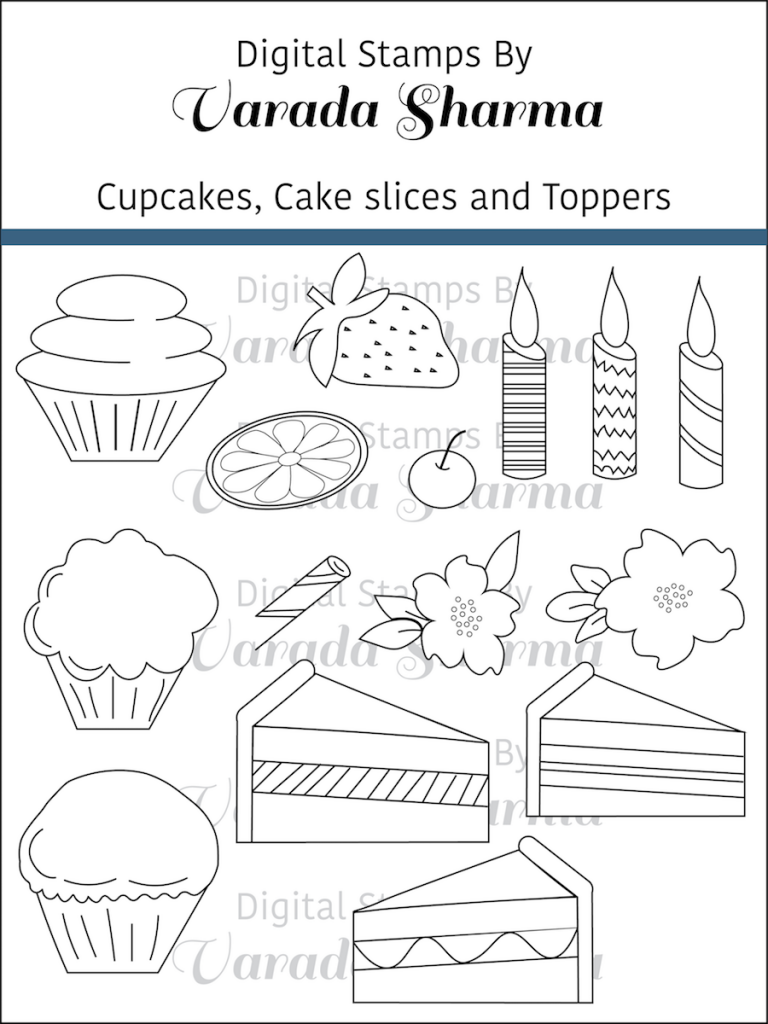 Cupcakes, Cake slices and Toppers stamp set