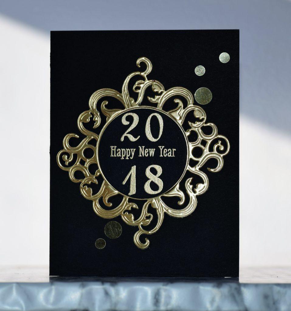Black and gold New Year card 4 using Spellbinders dies
