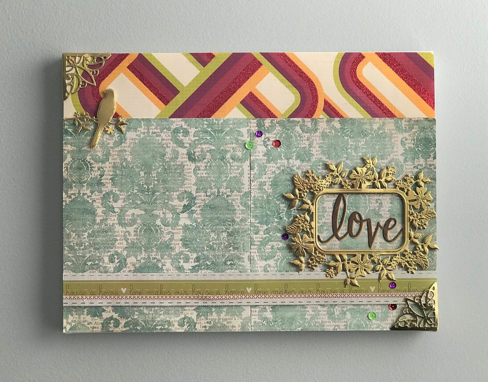 Canvas art using paper crafting supplies 2a