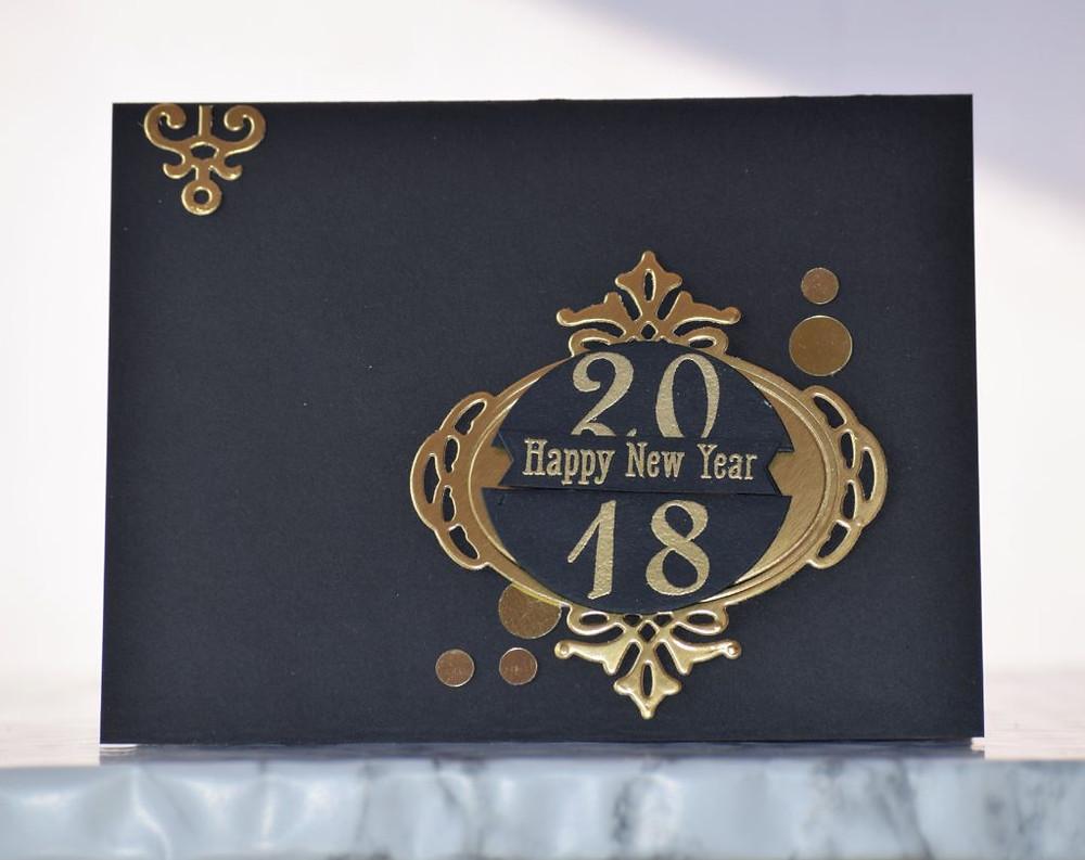 Black and gold New Year card 3 using Spellbinders dies