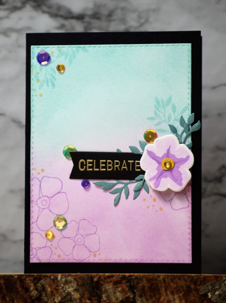Celebrate card with SSS Forget Me Not Trio - 1