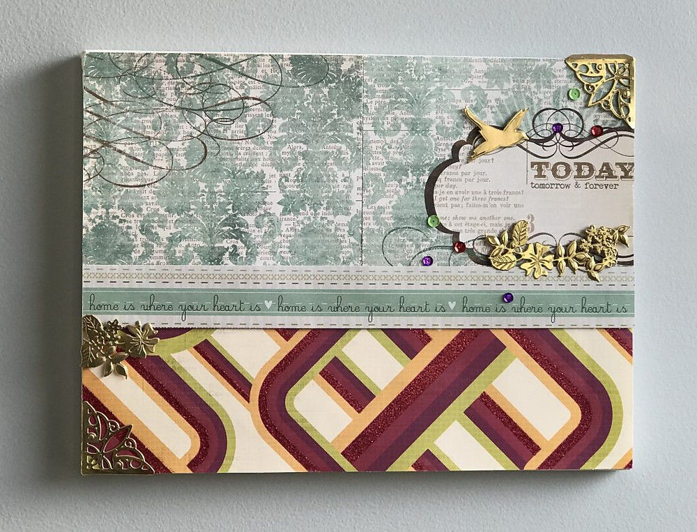 Canvas art using paper crafting supplies 1a