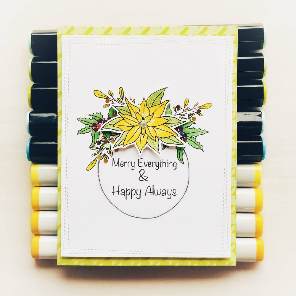 Merry Everything & Happy Always - card using Merry & Bright Digital Stamps Dec 2020 Release by Varada Sharma