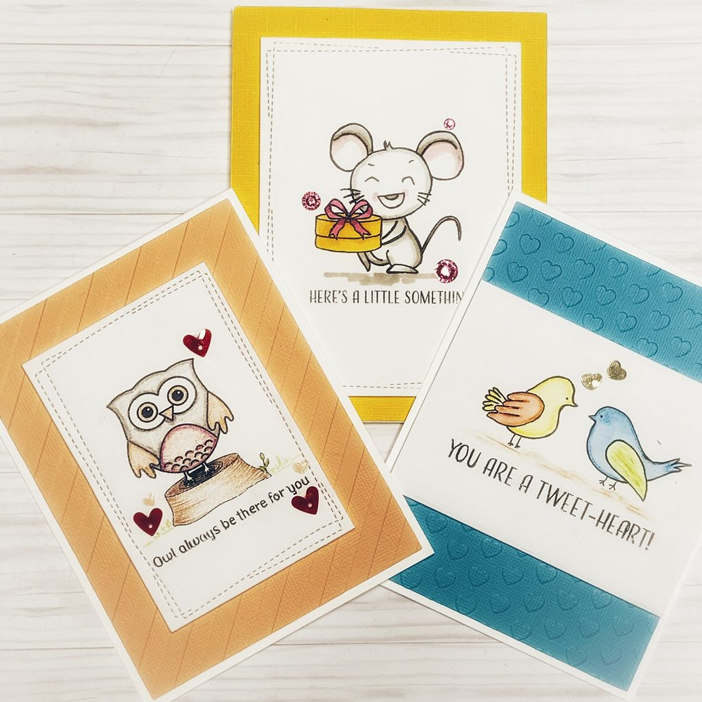 Cards using Cute Critters Jan 2021 Digital Stamps release by Varada Sharma