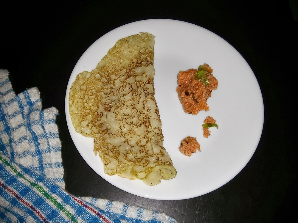 Rawa dosa and cheat recipe for tomato chutney