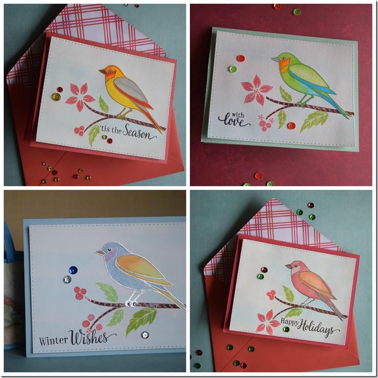 bird cards collage
