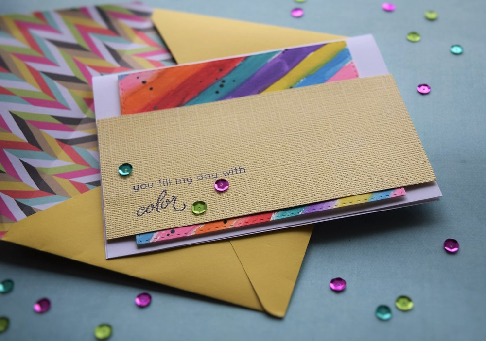 You fill my life with color card for teacher