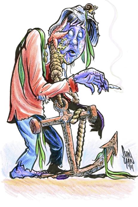 """Color Zombie Caricature - 11"""" x 17"""""""