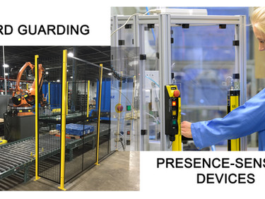 Machine Safety, When to use hard guarding vs light curtains or other presence-sensing devices?