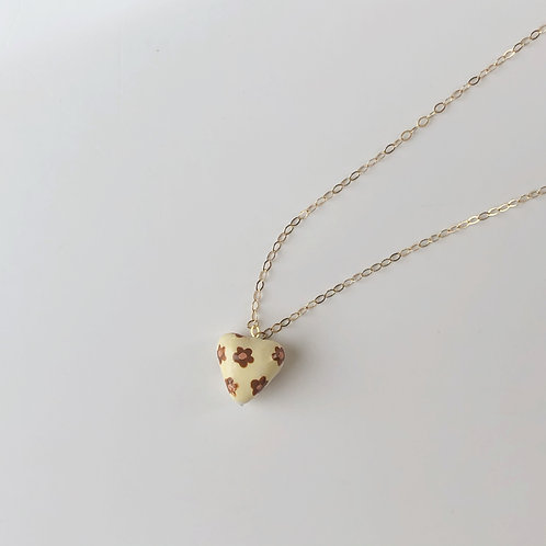 Handmade Clay Charm Necklace (Ivory/Brown Flower)