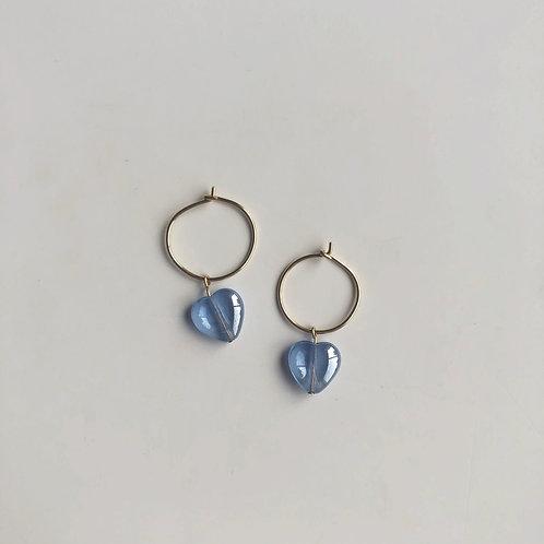 Vintage Glass Heart Hoop (Azul)