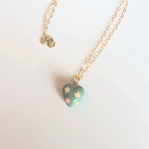 Handmade Clay Charm Necklace (Green/Pink Flower)