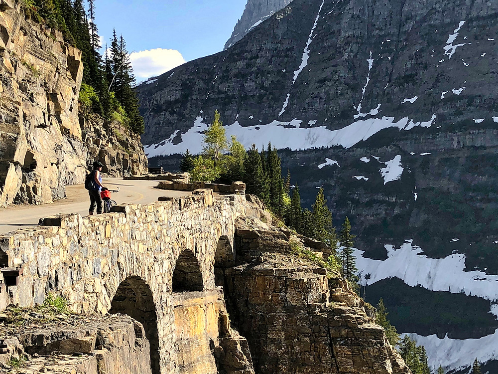 Spring cycling on Going-to-the-Sun Road in Glacier National Park before the road is open to cars.