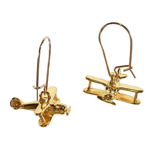 Gold Bi-Plane Earrings
