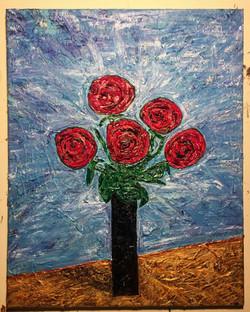 Roses in a Black Vase