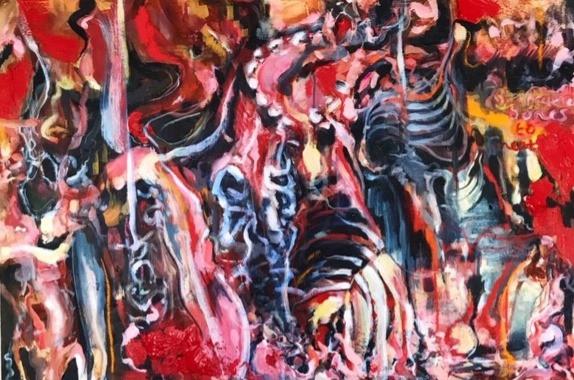 Acrylics, oil & chalk pastel on cotton duck canvas