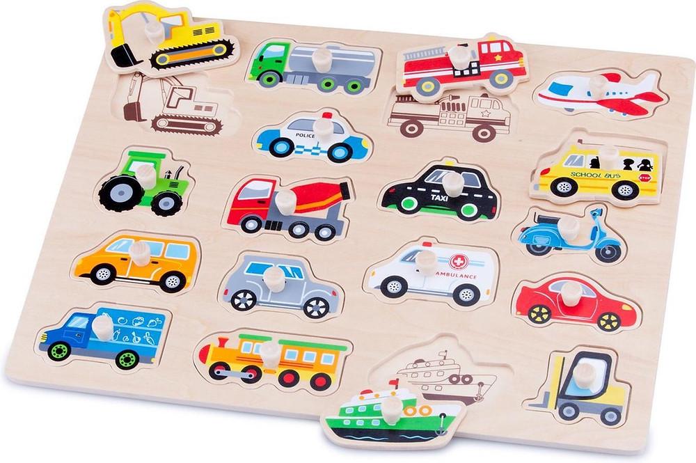 Houten vormenpuzzel met voertuigen