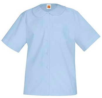 Short Sleeve Peter Pan Blouse with Pocket