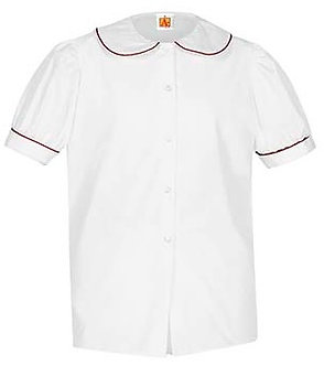 Puffed Short Sleeve Broadcloth Blouse with Piping