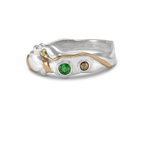 Emerald and Champagne Diamond silver ring