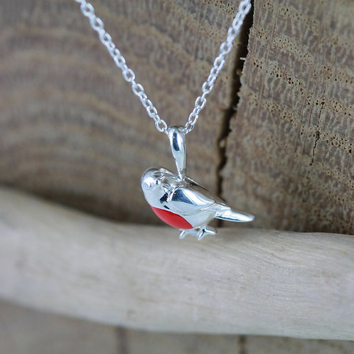 Silver Robin on curb chain
