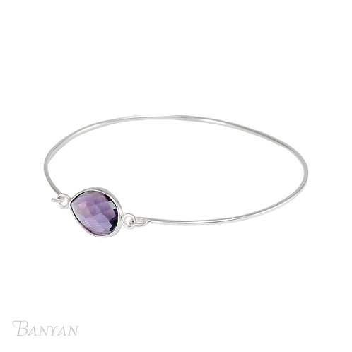 Facetted Amethyst and slim Silver bangle