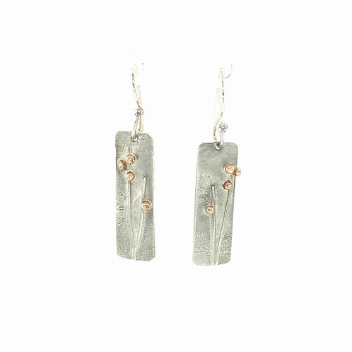 Meadow silver drop earrings with 9ct rose gold detail