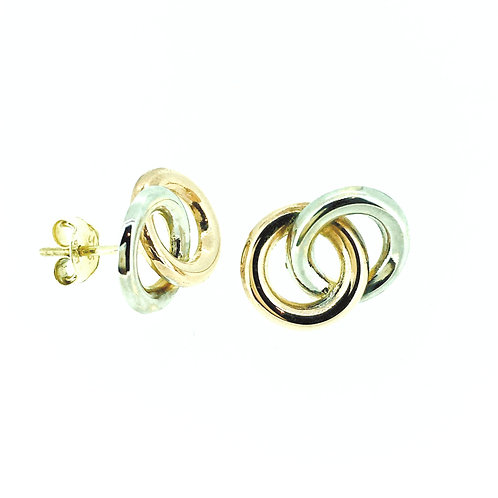 Circle Link Rose and White gold stud earrings
