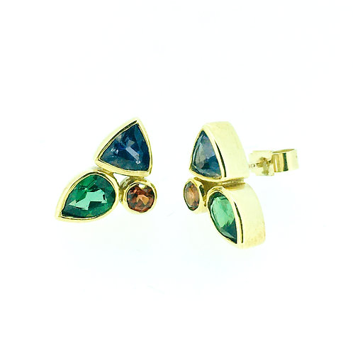 Green Tourmaline, Iolite and Garnet gold stud earrings