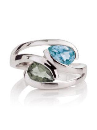 Love Birds topaz and green amethyst silver ring
