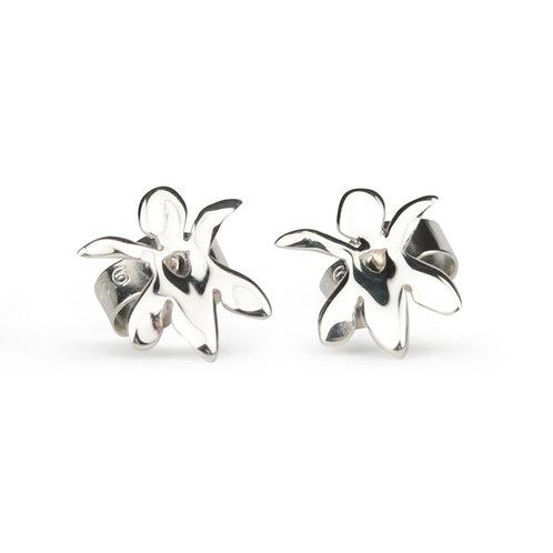 Secret Garden Tiny Silver Orchid stud earrings