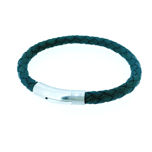 Dark Green leather bracelet with steelclasp